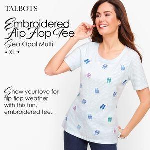 Talbots Embroidered Flip Flop Tee Sea Opal Multi